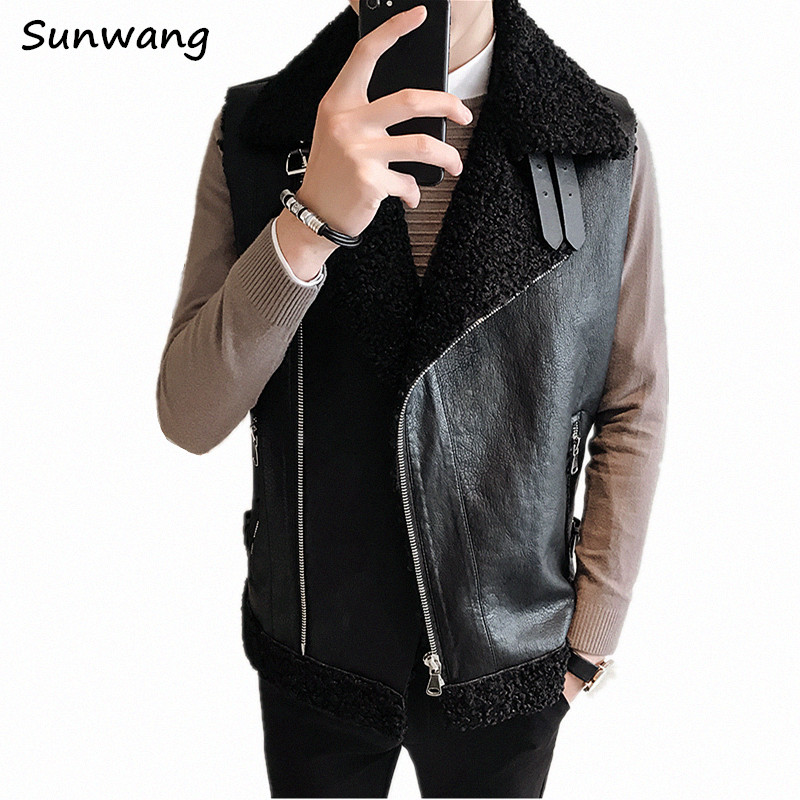 Oblique Zipper Thick Warm Cool Suede Jacket Wasitcoat Motorcycle Mens Winter Sleeveless Leather Jackets Faux Fur Coat Men Vest