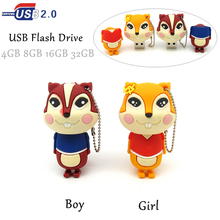 Lovely boy girl squirrel usb flash drive disk memory stick mini computer gift 4gb 8gb 16gb pendrive 32gb Pen drive personalized