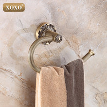 XOXO Carving Antique Brass Wall Mounted Towel Ring Unique Design Bathroom Bath Towel Rack15080(China)