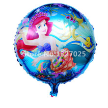 3pcs/lot 18'' round shape Queen Princess air balls fairy foil balloons Mermaid balloons birthday decoration Fish Blue Party Girl(China)