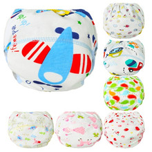1Pcs Baby Cotton Reusable Baby Diapers Waterproof Cloth Nappies Washable Diapers Learning Pants Training Pants(China)