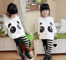 Cartoon T-shirt+pant Girls Zebra Bow Skinny Pants Kids Black White Stripes Trousers Panda clothes Children Clothing Long sleeve
