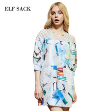 Elf Sack 2016 New Arrival Spring Sleeve Patchwork Online Shop China Fashion Women Beach Large Size Imported Clothes Print Dress(China)