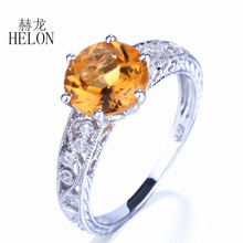 HELON Solid 10K White Gold Women's Fine Jewelry Art Nouveau Vintage 7.5mm Round Cut Citrine Pave Diamond Engagement Wedding Ring(China)