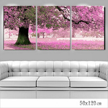 handmade acrylic paint for painting first love for bedroom wall colors pictures 40X50X3 set pink tree cheap modern painting P036