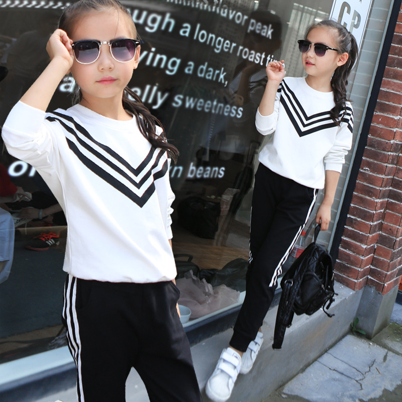 Girls Sportswear Set 2017 autumn and winter children track and field clothing long - sleeved striped sweatshirt + trousers<br><br>Aliexpress
