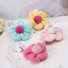 1 PC Girls Hot Sale Candy Color Fabric Flower Hairpin Hair Clips for Kids Hair Accessories Headwear Hairclips(China)