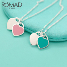 ROMAD Fashion Blue Pink Two Heart Pendant Necklaces 2017 Design Charm Enamel Alloy Necklace For Women Girls Gifts Jewellery(China)