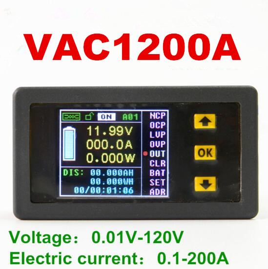 VAC1200A voltage meter Coulomb Counter Voltmeter current power capacity 120V/200A Color LCD display Bi-directional<br>