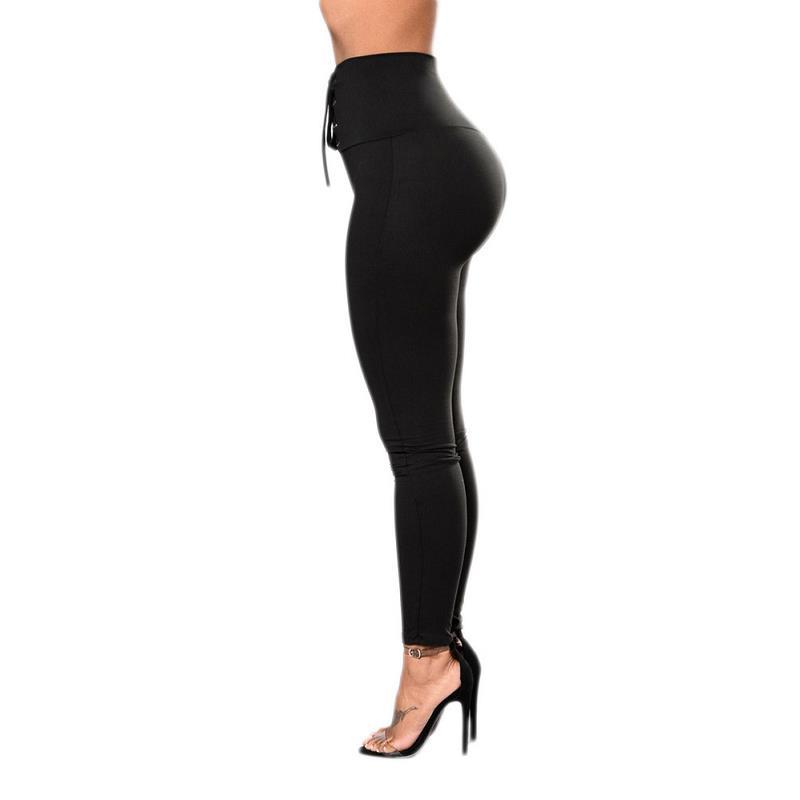 Autumn Sexy High Waist Women's Black Legging, Lace Up Wide Waist 31