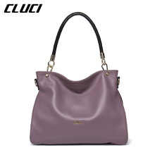 CLUCI Women's Shoulder Bag Genuine Leather Fashion Black/Red/Purple/Blue Women Handbags Neverfull Totes Luxury Soft Shoulder Bag
