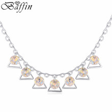 Crystal from Swarovski Rhodium Plated Necklace for women Romantic Water Drop Jewelry Trendy Wedding Pendant Necklace For women
