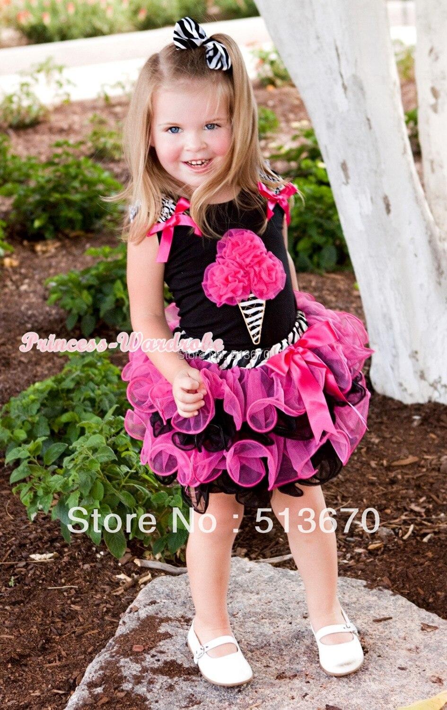 Black Baby Pettitop Hot Pink Rosettes Zebra Ice Cream Print Zebra Waist Hot Pink Black Petal Baby Pettiskirt MANG1233<br><br>Aliexpress