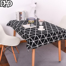Black White Tablecloth Fashion Geometric Striped Manteles Nappe Rectangulaire Modern Table Cloth Rectangular Cotton Table Covers
