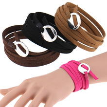 2017 Wrap Bracelet Multilayer Leather Korea Velvet Bracelets bangles for Men erkek bileklik women pulseras Wristband Unisex Gift