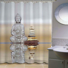 180cm * 180cm 3D Buddha Shower Curtain Bathroom Waterproof Fabric Curtain Polyester Fabric Buddha Curtain Home Bathroom Decor