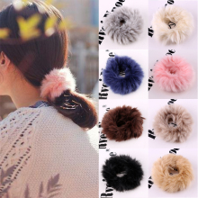 Soft Plush Rabbit Fur Ball Headwear Girls Ponytail Holder Elastic Rubber Ribbon Headband Women Hair Bands Wrap Ties Accessories