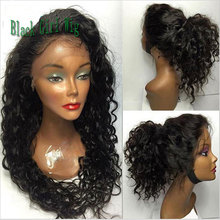 Cheap High Quality Heat Resistant Fiber Long Black Loose Curly Synthetic Lace Front Wigs Glueless With Baby Hair For Black Women