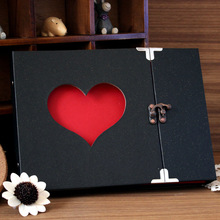 10 Inch Creative Hollowed Heart Shape Photo Photography Image Album Scrapbook Green Cover DIY Craft Anniversary(China)