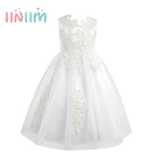New Brand Girls Sleeveless Water-soluble Lace Flower Girl Dress Princess Pageant Wedding Bridesmaid Birthday Party Dress SZ 3-10