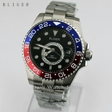 New 43mm Titanium Bezel GMT Luminous Hands Sapphire Glass Automatic Day Men's Watch