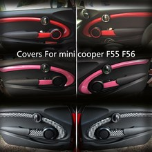 6pcs/set car styling door pink / red / checkered decoration For mini cooper s 2014 f56 accessories Door Handle Covers(China)