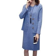 Mujer Plus tamaño 4XL de punto suéteres vestidos de dos piezas traje cálido  vestido de las mujeres de otoño abrigo Casual mujer . 04a42e4b24f7