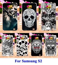 Hard Plastic and Soft TPU Phone Covers For Samsung Galaxy SII I9100 S2 Cases DIY Painted Black White Skull Pattern Durable Shell