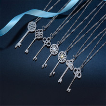 Classic Key Necklace 925 Silver Crystal Key Wishing Long Necklace & Pendant Woman Girl's Statement Necklace Holiday Gift