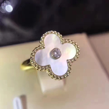 Hot Brand Fashion Jewelry For Women Wedding Ring One Four Leaf Clover Flower Jewelry Mother Shell Pearl Ring Top Quality 678 #(China)