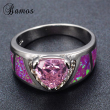 Bamos Vintage Fashion Pink Fire Opal Rings for Women 925 Sterling Silver Filled Pink Birthstone Ring Engagement Jewelry RS0035(China)