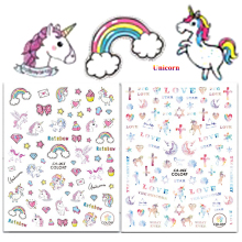 1Sheet Unicorn Nail Stickers Rainbow 3d Adhesive Nail Art Stickers Beauty Nail Tips Decals DIY Nail Art Decorations LACA65-66