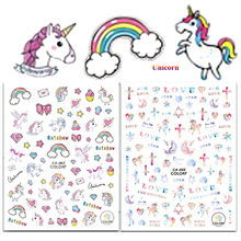 1Sheet Unicorn Nail Stickers Rainbow 3d Adhesive Nail Art Stickers Beauty Nail Tips Decals DIY Nail Art Decorations LACA65-66(China)