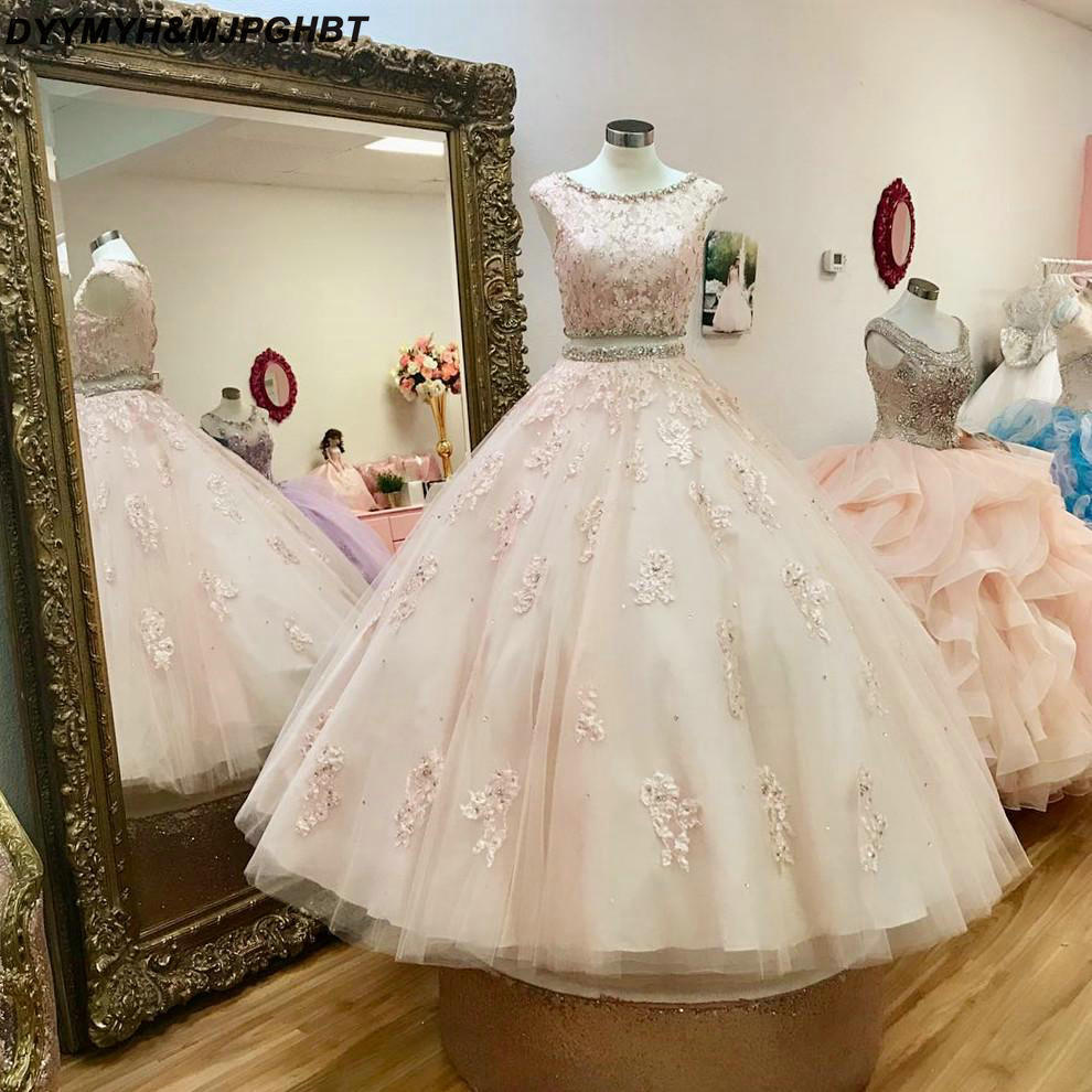 Pink Lace Two Pieces Kids Pageant Dresses Appliques Crystal Puffy Ball Gowns Flower Girl Gowns Robe De Soiree