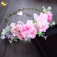 Buy Bride Flower Headband Wedding Rose Flower Wreath Floral Garlands Flower Crown Hair Accessories Forehead Wreath Garland 58171 for $3.67 in AliExpress store