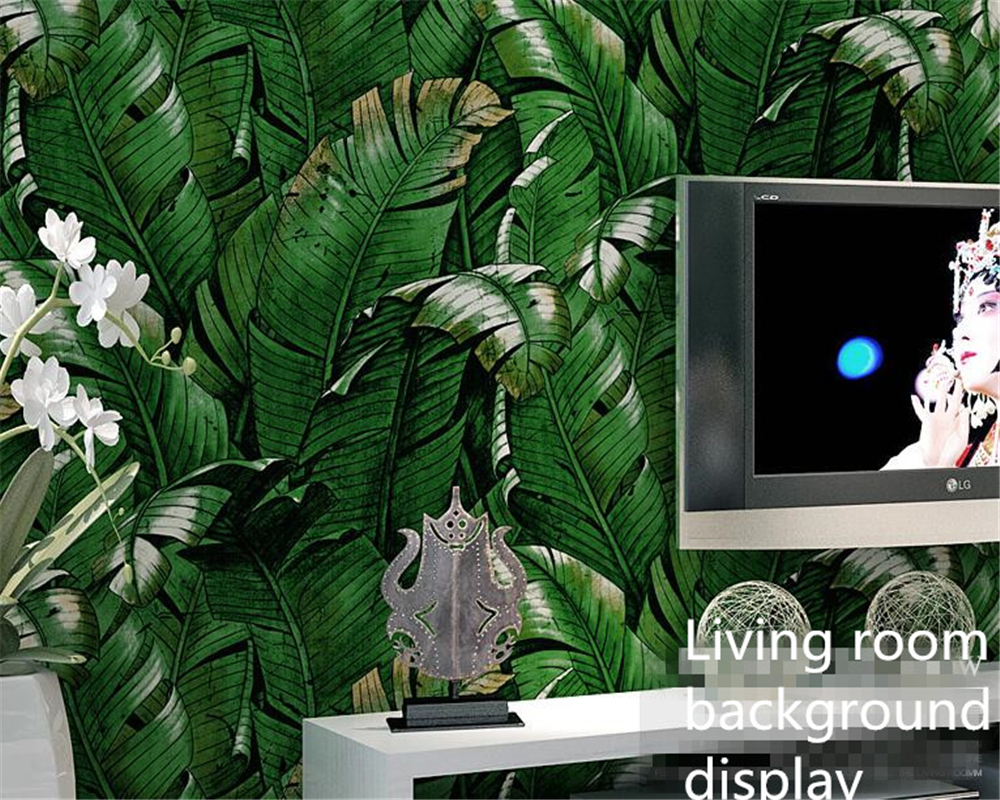 Beibehang High quality tropical green plantain Banana leaves fashion 3D wallpaper roll papel de parede wallpaper for walls 3 d<br>