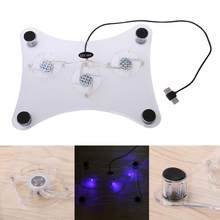 "Blue LED Light 3-Fan Cooler USB Cooling Pad Stand For PS2 PS3 Slim 12"" Laptop PC R179T Drop shipping(China)"
