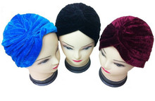 Fashion Soft Polyester Velvet INDIAN STYLE Turban Head Wrap Band Hat Spring Cap Chemo Bandana BLACK NAVY BLUE WINE-RED(China)