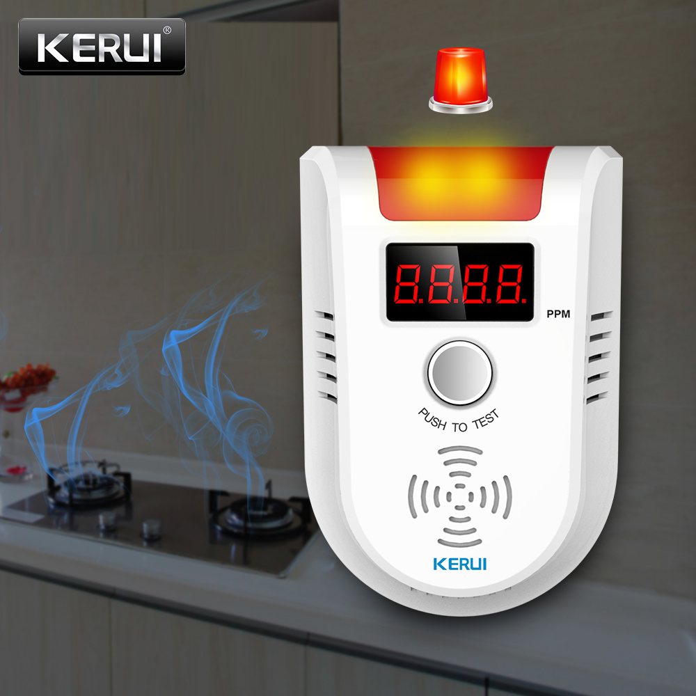 KERUI GD13 LPG GAS Detector Alarm Wireless Digital LED Display Natural Leak Combustible Gas Detector For Home Alarm System(China)