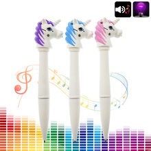 Creative Kawaii Unicorn Multifunctional Electronic Voice And Light Ballpoint Pen For Kids Gift Novelty Item Free Shipping(China)