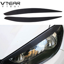 Vtear For Volkswagen Polo headlights brow sticker 3D carbon fiber paster Exterior decoration products accessory part 2011-2017(China)