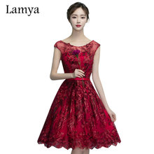 Lamya 2017 Sleeveless Sexy Bowknot Prom Dresses Wine Red Elegant Knee Length Summer Dresses Appliques Adjust Evening Party Dress