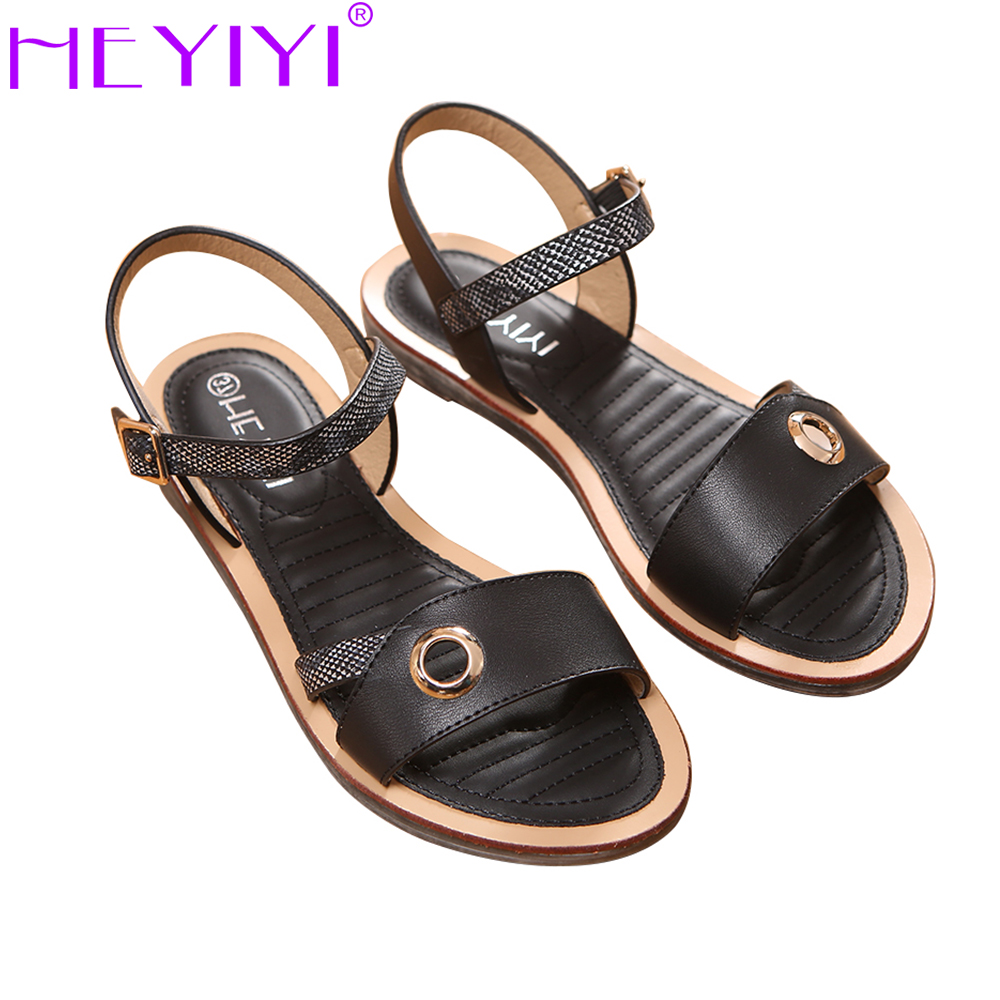 HEYIYI Women Sandal Shoes flat Heel Soft EVA Insole PU Leather Summer Large Size 36-41 Metal Ring Sewing Element Concise Shoes<br>