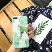 SZYHOME Phone Cases for IPhone 6 6s 7 Plus Case Cute Green leaf Discounted for IPhone7 Plus Mobile Phone Cover Capa(China)
