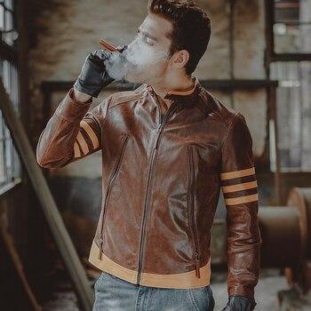 Hommes de moto en cuir véritable veste En Cuir Véritable veste en peau de porc mince biker vestes d'hiver manteau hommes