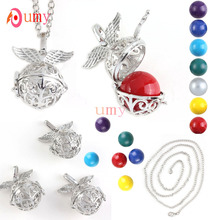 UMY New Stylish Silver Plated Round Beads Bell Locket Necklace Fashion Angel Wing Jewelry