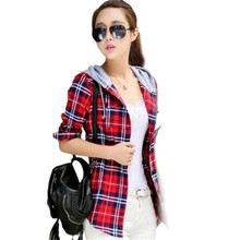 2017 NEWspring and autumn Plus Velvet Thick Warm Plaid Shirt Sleeved Women'S Plaid Blouse free shipping Even a hat Cap female