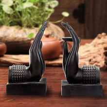 handmade black creative vintage buddha's hand decorative book ends bookends book holder handicraft ornaments home decoration(China)