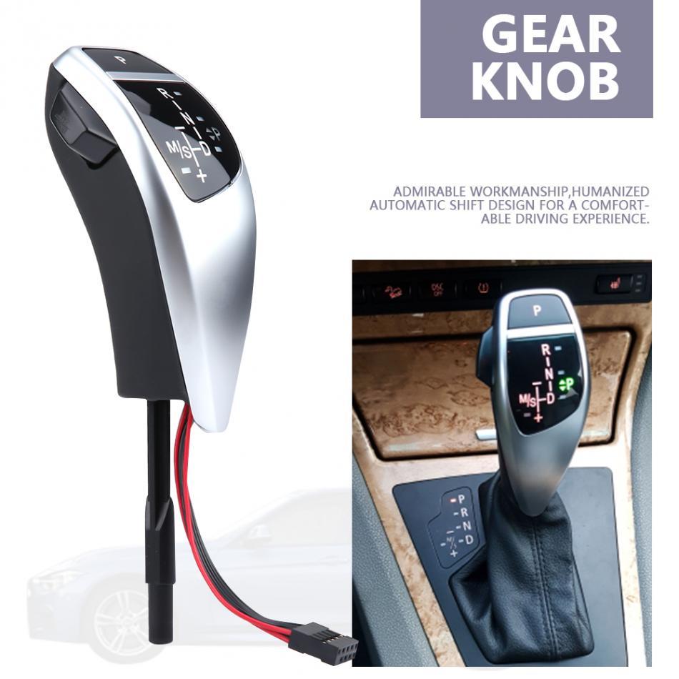 Fydun LED Shift Knob Leather Plastic Automatic Gear Shift Knob Fit for E90 E91 E93 E81 E82 E84 E87 E88 E89 Plating black