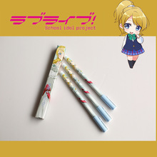3X Anime Sword Art Online Black Butler Lovelive Action Figure Printed Ellie Nico Kirito Ciel Cartoon Students Supplies Pen Toy(China)